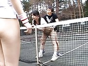 Japanese AV Model gets rear fucking on tennis court