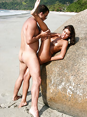 This super hot brazillian babe gets pounded and creamed down on the beach in rio