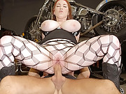 Sexy big tits hot babe nailed hard in a biker shot hot fucking cumfaced real vids