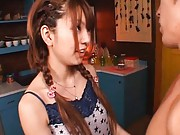 Mayu Nozomi Pretty girl in braids kisses her guy in the kitchen