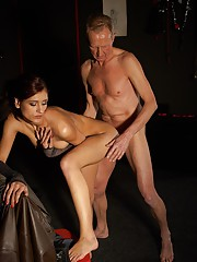 Old daring chap spanked by a harsh mistress