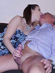 Hairy sweetheart fucks much older horny dude