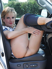 Milf in leggings outdoors flashing