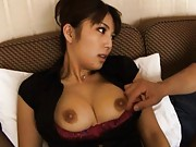 Azumi Harusaki with big brown nipples gets fingers in lower lips
