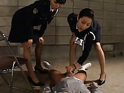 Japanese AV Model Prison guards masturbate a prisoner´s cock