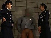 Japanese AV Model Prison guards masturbate a prisoner´s cock