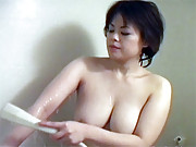 Asian sweetheart loves showering her snatch
