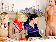 Hot blonde alana and her sexy milfs flirt and tease their catering boy then have him get naked lay down on the table and eat off his body and cock in these hot milf masterbation and hot fucking videos