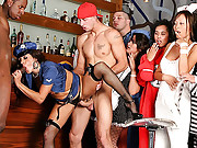 3 amazing hot milfs dressed up as cats and nurses takes advantage of 3 boys at a halloween party in these hot sucking and fucking amazingp party movies