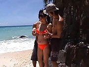 Ai Takeuchi Pretty Asian doll in bikini kisses guys on the beach