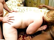 BBWs interracial spit roasting