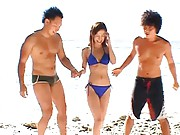 Mako Katase Naughty beach bunny has a threesome and kisses guys