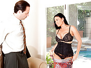 Enticing housewife slips off her lingerie and satisfies her hubby