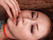 Akiho Yoshizawa has pussy eaten while she sits up site down