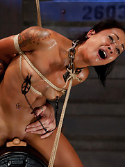 Tortured, humiliated, electrifying orgasms, and the most intense predicament bondage wear this whore down to a sniffling pile in the floor.