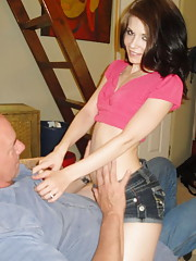Horny young slut makes a grandpa so happy