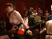 Grace and 5 are thrown on the floor, bent over chairs, and used until the gentlemen are satisfied.