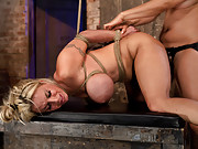 Super hot MILF with huge bound tits, gets throat fucked by The Williams, and strap on fucked by The Goddess.  Isis Love brutally fucks Holly to orgasm