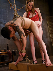 Young dominatrix tortures slaves cock and balls then fucks him deep in his tight ass!
