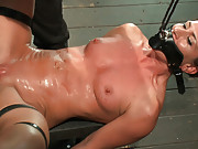 Ariel and Dia bound together. Mouth gag to ass hook. Heavy floggings on the ass and tits. Made to squirt. Left sweaty, squirt covered and wrecked.