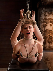 Senisi suffers a brutal reverse prayer Category 5 Hogtied.  Extreme back arch with hair & ankles pulled so painfully tight.  Disney girl made to cum!