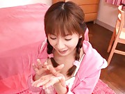 Yuma Asami Asian giving blowjob in her pink lingerie and room