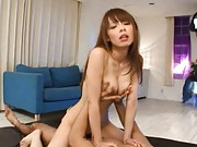 Eri Ouka Asian screwed from behind while she masturbates tool