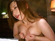 Ai Sayama loves to have huge cans squashed during her cock riding
