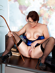 Filthy hot milf teacher strips and pleasures her mature pussy