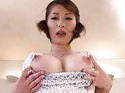 Saki Ootsuka Sexy gal in fishnets gets tits fondled while fucking