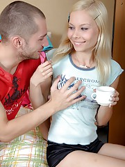 Gorgeous blonde sweetheart railed by a dude