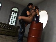 Tina busty slut is about to be screwed in vagina on a barrel