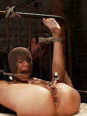 Beautiful Latina girl is orgasmed to sub space.  Brutal nipple torture, clit torture and foot caning.  Huge dildo and vibrator lock into place.