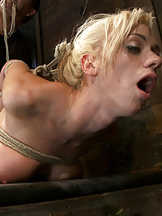 Hot tan blond with big tits, pony tails, and braces is brutally bound with elbows together, face fuck, hogtied and made to cum like a whore.