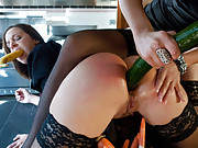 Jada Stevens anally dominated and penetrated with food and cock.