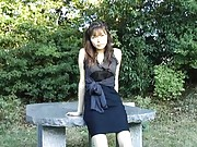 Hijiri Kayama Asian in sexy black dress is touched on thong