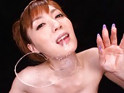 Kaede Fuyutsuki licking cum with pink tongue from a mirror