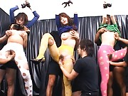 Japanese AV Model with group of gals are tied and fingered a lot