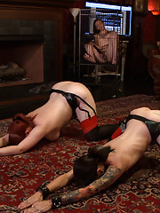 The house assesses house slave robots ability in suspension and endurance. Her pussy is properly fucked with a cock gag from house slave kaos.