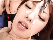 Tsubasa Amami Asian rides cock and gets cum on face with public