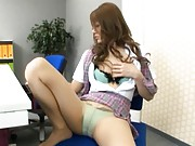 Risa Tsukino Asian rubs her clit at job playing with her titties