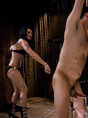 Mistress Simone Cross whips pathetic dick slave boy