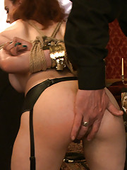 House slave grace is placed in tight and restrictive rope bondage and made to fight robot for the Steward
