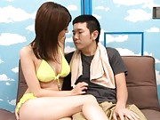 An Mashiro Asian in yellow bath suit turns man on at swimming