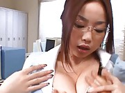 Risa Kasumi Asian secretary has muff licked during phone call