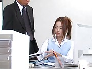 Risa Kasumi Asian is sexy secretary that has pussy touched at job