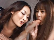 Japanese AV Model sucks long penis and other doll strokes it