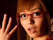 Aino Kishi Asian with fresh manicure and eye glasses rubbing dick