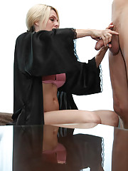 When Angela orders room service, she expects FULL service, including a cock to suck and fuck until it spews jizz all over her incredible ass.