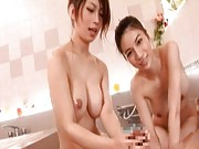Anri Suzuki Asian rubs man body with her nude and oiled body